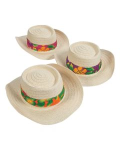 Beach Hats with Hibiscus Print Band Assortment