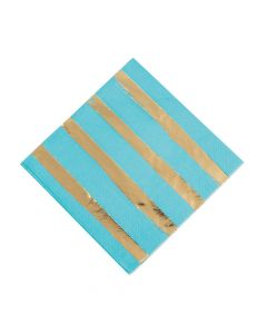 Bermuda Blue and Gold Foil Striped Luncheon Paper Napkins