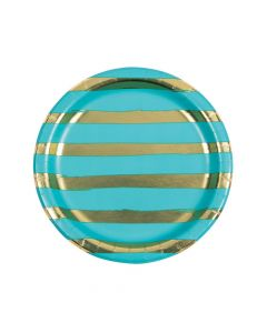 Bermuda Blue and Gold Foil Striped Paper Dinner Plates