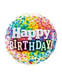 Birthday Rainbow Confetti Mylar Balloon