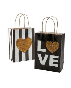 Black and Gold Glitter Wedding Kraft Paper Bags