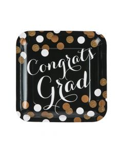 Black and Gold Graduation Square Paper Dinner Plates