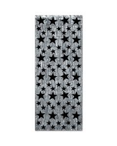 Black Star Silver Fringe Door Curtain