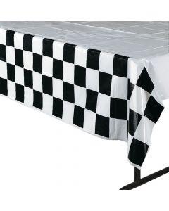 Black & White Checkered Plastic Tablecloth