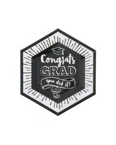 Black and White Congrats Grad Paper Dinner Plates - 8 Ct.