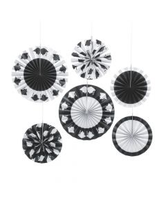Black and White Graduation Hanging Fans