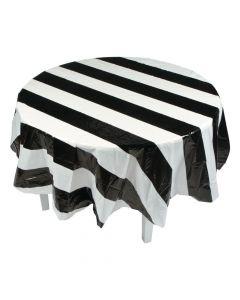 Black and White Stripe Round Plastic Tablecloth