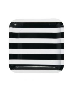 Black and White Striped Paper Dinner Plates