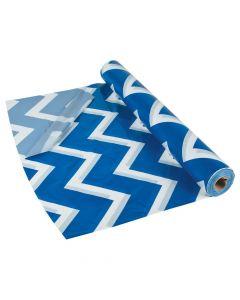 Blue Chevron Plastic Tablecloth Roll