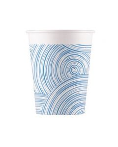 Blue Circles Paper Cups 200ML - Eco Friendly