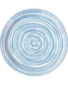 Blue Circles Paper Plates LRG 23CM Eco
