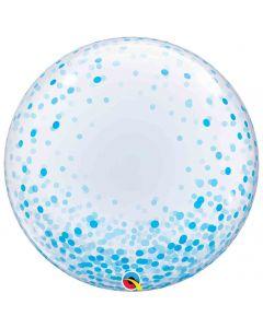 Blue Confetti Dots 60cm Deco Bubble Balloon