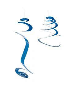 Blue Hanging Swirl Decorations - 12 PC.