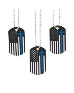 Blue Line Faith Dog Tag Necklaces