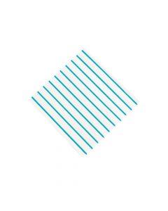 Blue Metallic Stripe Beverage Napkins