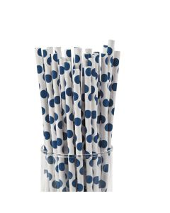 Blue Polka Dot Paper Straws