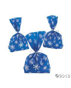 Blue Snowflake Cellophane Bags