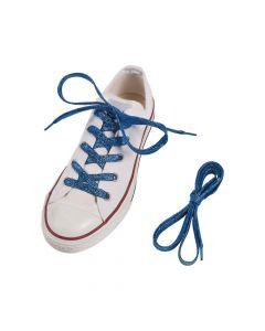 Blue Team Spirit Metallic Shoelaces