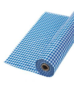 Blue and White Argyle Plastic Tablecloth Roll