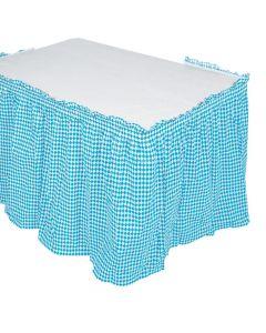 Blue and White Argyle Table Skirt