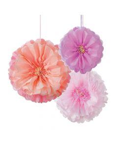 Blush Flower Hanging Tissue Paper Pom-Pom Decorations