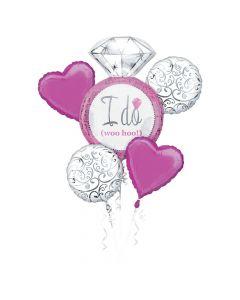 Bright Pink Wedding Mylar Balloon Bouquet