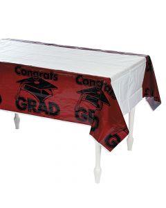 Burgundy Congrats Grad Plastic Tablecloth