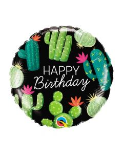 Cactus Happy Birthday Mylar Balloon