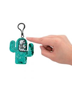 Cactus Reversible Sequin Backpack Clip Keychains
