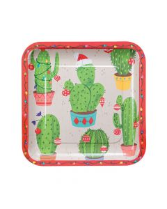 Christmas Cactus Square Paper Dinner Plates