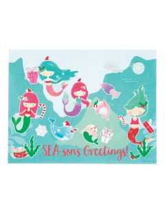 Christmas Mermaid Sticker Scenes