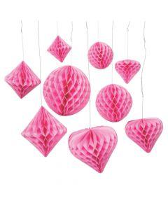 Classic Pink Hanging Paper Honeycomb Decoration Assortment