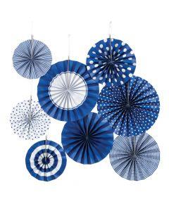 Cobalt Blue Hanging Paper Fan Assortment