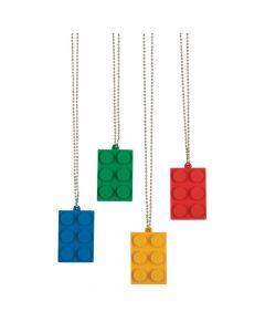 Color Brick Party Dog Tag Necklaces