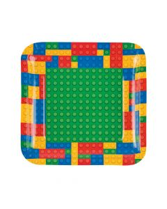 Color Brick Party Paper Dinner Plates