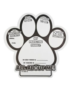 """Color Your Own """"All About Me"""" Paw Print Posters"""