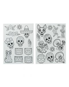 Color Your Own Day of the Dead Window Clings