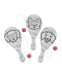 Color Your Own Dog Party Paddleball Games