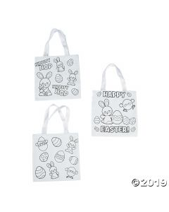 Color Your Own Easter Tote Bags