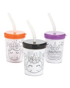 Color Your Own Halloween Unicorn Pumpkin Cups with Lids and Straws