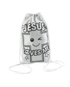 Color Your Own Jesus Loves Me Drawstring Backpacks