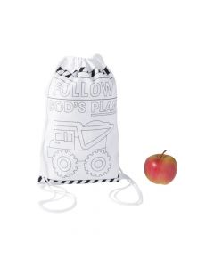 Color Your Own Medium Construction VBS Drawstring Bags