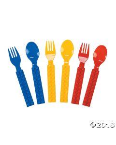 Colour Brick Party Plastic Fork & Spoon Set