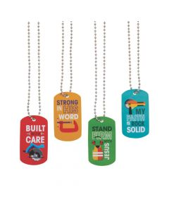 Construction VBS Dog Tag Necklaces
