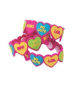 Conversation Heart Rubber Bracelets