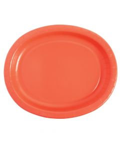 Coral Oval Paper Dinner Plates