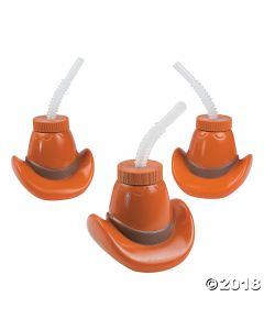 Cowboy Hat Cups with Straws
