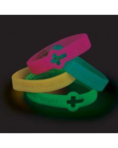 Cutout Cross Glow-in-the-Dark Faith Rubber Bracelets