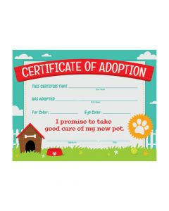 Dog Party Adoption Certificates