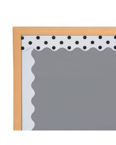 Double-Sided Solid and Polka Dot Bulletin Board Borders - White